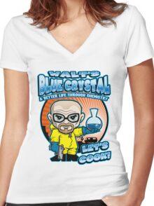 Walt's Blue Crystal Women's Fitted V-Neck T-Shirt