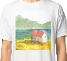 Home and Mountain and Lake and Yellow Field Classic T-Shirt