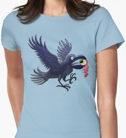 Crow Stealing an Eye Womens Fitted T-Shirt