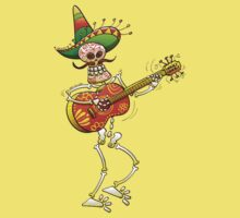 Mexican Skeleton Playing Guitar Kids Clothes