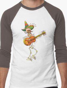 Mexican Skeleton Playing Guitar Men's Baseball ¾ T-Shirt