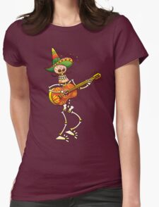 Mexican Skeleton Playing Guitar Womens Fitted T-Shirt