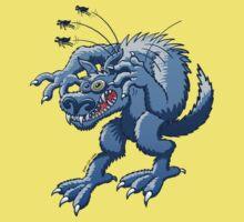 Werewolf Scratching Spooky Fleas Kids Tee