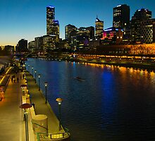 Melbourne River Skyline at Dusk by PhotoJoJo
