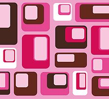 Retro Pink Brown Squares by Catherina Amor