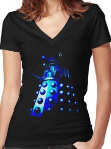 Dalek Gamma – Blue Women's Fitted V-Neck T-Shirt