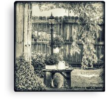 Bench Planter and Street Lamp HDR Monochrome Canvas Print