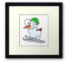 Skiing snowman Framed Print