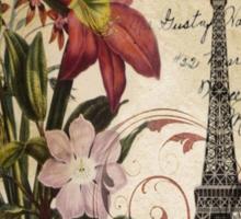 vintage retro paris eiffel tower lily floral botanical art Sticker
