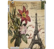 vintage retro paris eiffel tower lily floral botanical art iPad Case/Skin