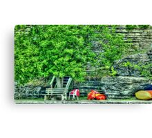Canoes on the Shore HDR Canvas Print