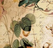 vintage bird roses floral botanical art  Sticker