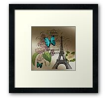 vintage paris eiffel tower butterfly lilac floral art  Framed Print