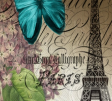 vintage paris eiffel tower butterfly lilac floral art  Sticker