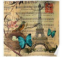 vintage paris eiffel tower music notes botanical art Poster