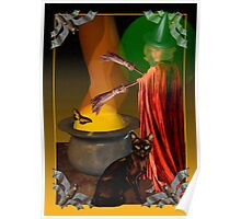 black cat,bat, Halloween, card,valxart  Poster