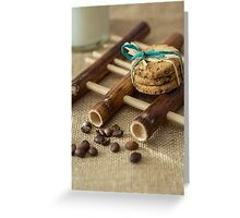 Cookies and milk on bamboo pad Greeting Card
