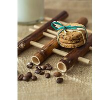 Cookies and milk on bamboo pad Photographic Print