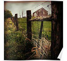 Rustic Farm Fence square art photograph Poster