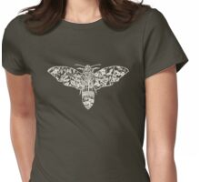 Moth Paper-Cut Womens Fitted T-Shirt