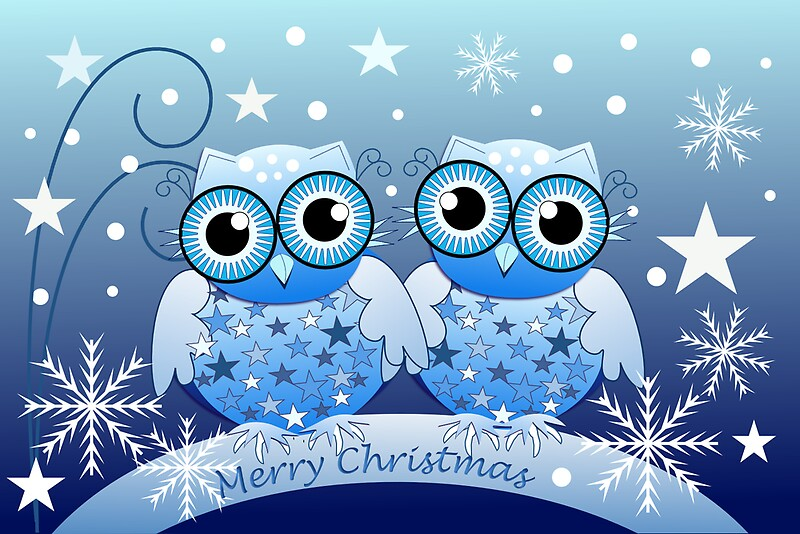 """""""Cute Blue Owls Merry Christmas text card"""" Greeting Cards ..."""