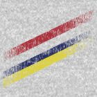 Diagonal Stripes in Red Blue Yellow by cocolima
