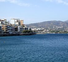 View of Mountains from Water Inlet on Island of Crete in Greece 2 by JaguarJulie
