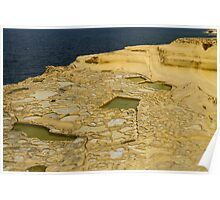Salt pans on Gozo Island, Malta Poster