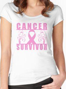 Cancer Survivor (Floral) Women's Fitted Scoop T-Shirt