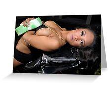 Bikini model getting soapy while washing a motorcycle Greeting Card