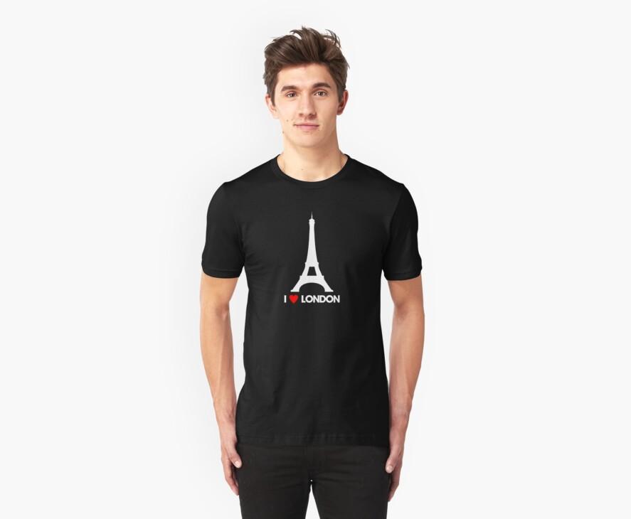 I Heart London Eiffel Tower - Joke T-Shirt  by LukeSimms