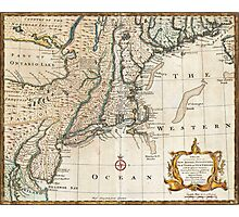 New England Ancient Map (1747) Photographic Print