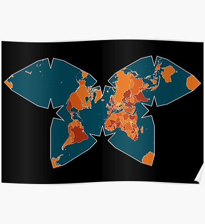 Orange/Red World Map on Blue/Black Backround in Waterman Projection Poster