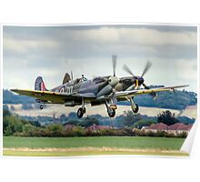 Two Spitfires taking off at Duxford Poster