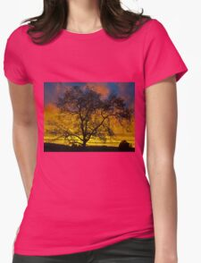 Tree At Sunset Womens Fitted T-Shirt