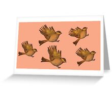 Cute Vintage bird print - flying gold sparrows Greeting Card