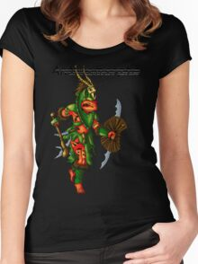 Anthromorphs frog warrior Women's Fitted Scoop T-Shirt