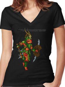 Anthromorphs frog warrior Women's Fitted V-Neck T-Shirt
