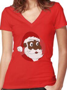 Santa Claus cartoon Women's Fitted V-Neck T-Shirt