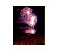 Fireworks over the sea Art Print