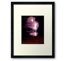 Fireworks over the sea Framed Print