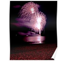Fireworks over the sea Poster
