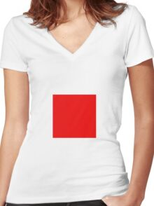 Square Red Women's Fitted V-Neck T-Shirt