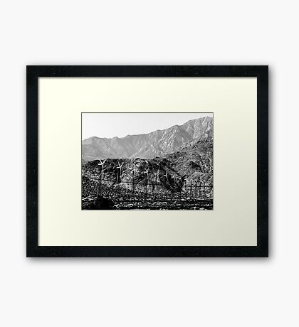 Windmills And Mountains Framed Print