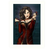Gothic Girl With Red Ribbon Art Print