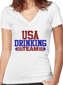 USA Drinking Team Women's Fitted V-Neck T-Shirt