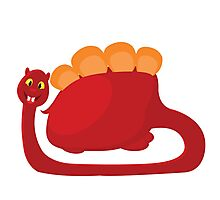 big red with orange dino on white background Photographic Print