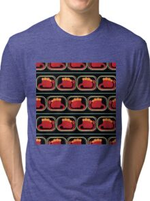 seamless pattern with many  red dinosaur on black background Tri-blend T-Shirt