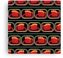 seamless pattern with many  red dinosaur on black background Canvas Print