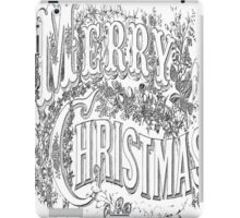 Vintage Merry Christmas Holiday Greeting (Black Text) iPad Case/Skin